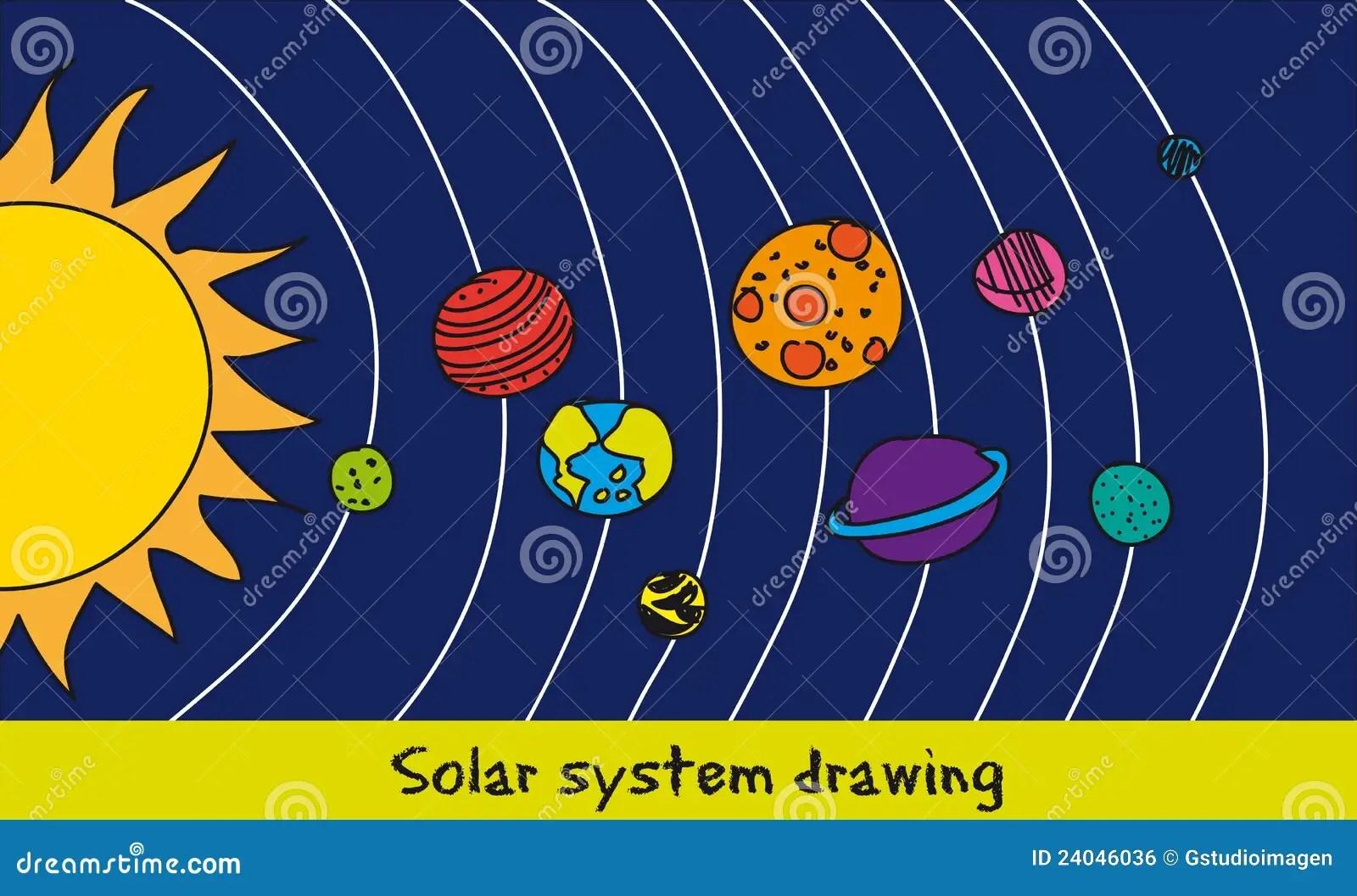 Solar System Drawing Stock Vector Illustration Of