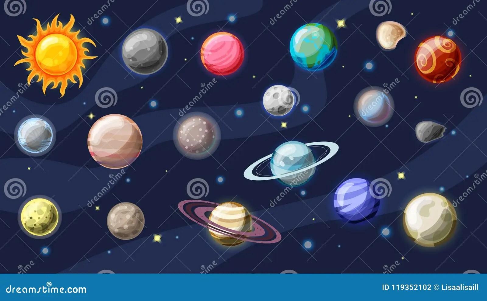 solar system vector cartoon