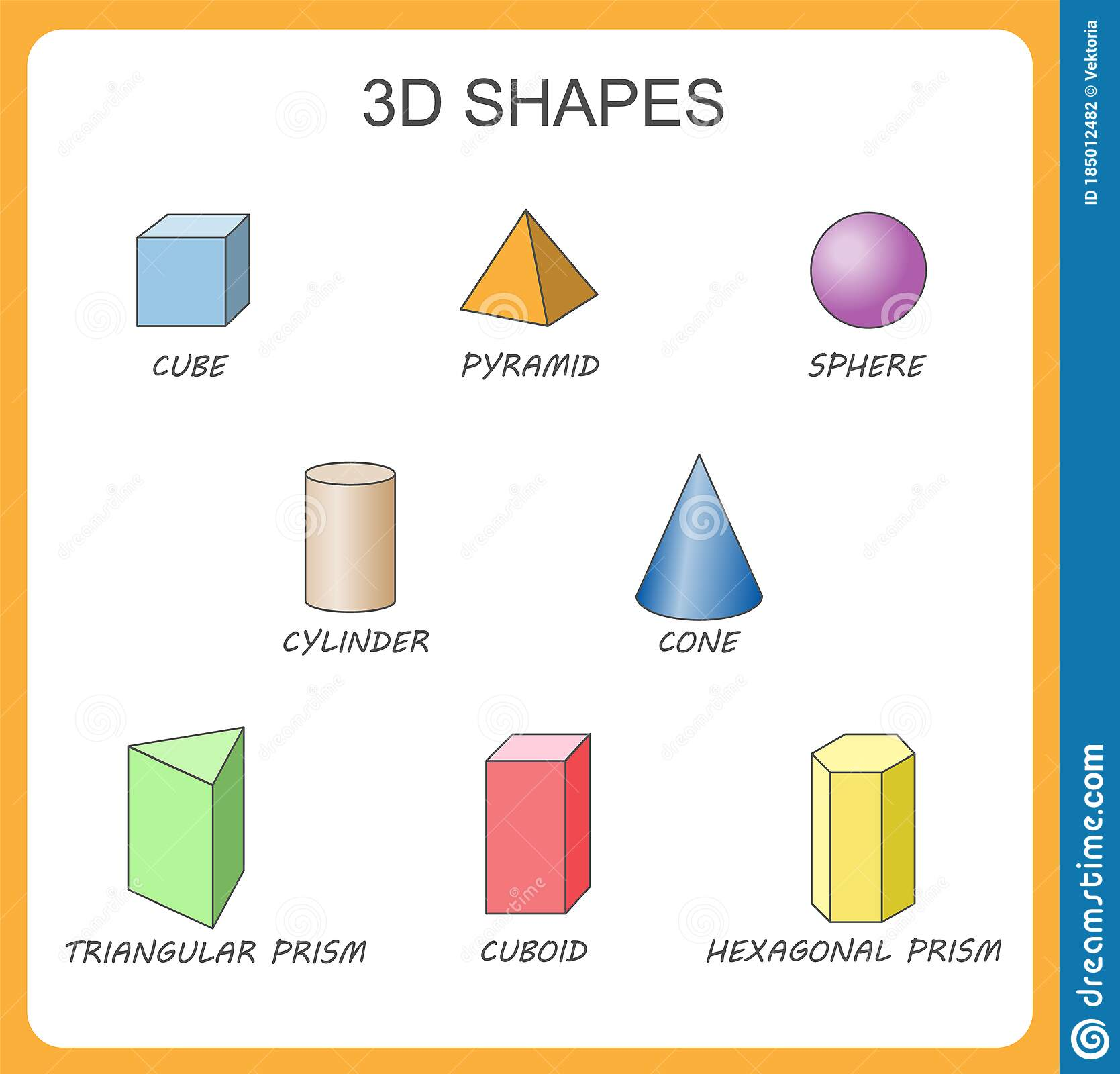Solid 3d Shapes Cylinder Cube Prism Sphere Pyramid