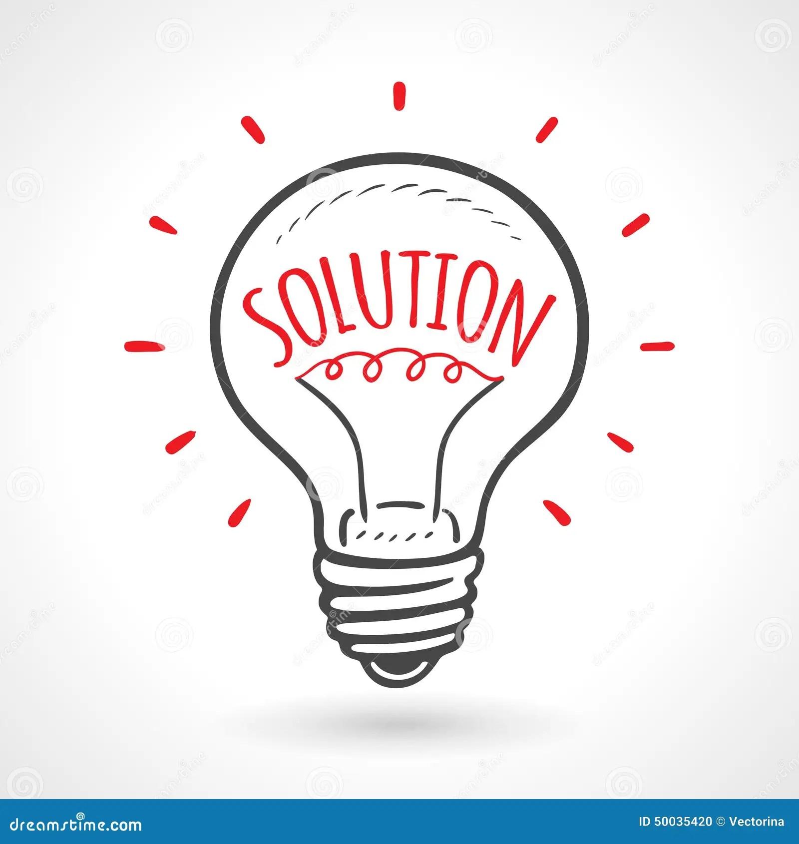 Solution Bulb Hand Drawn Idea Concept Stock Vector