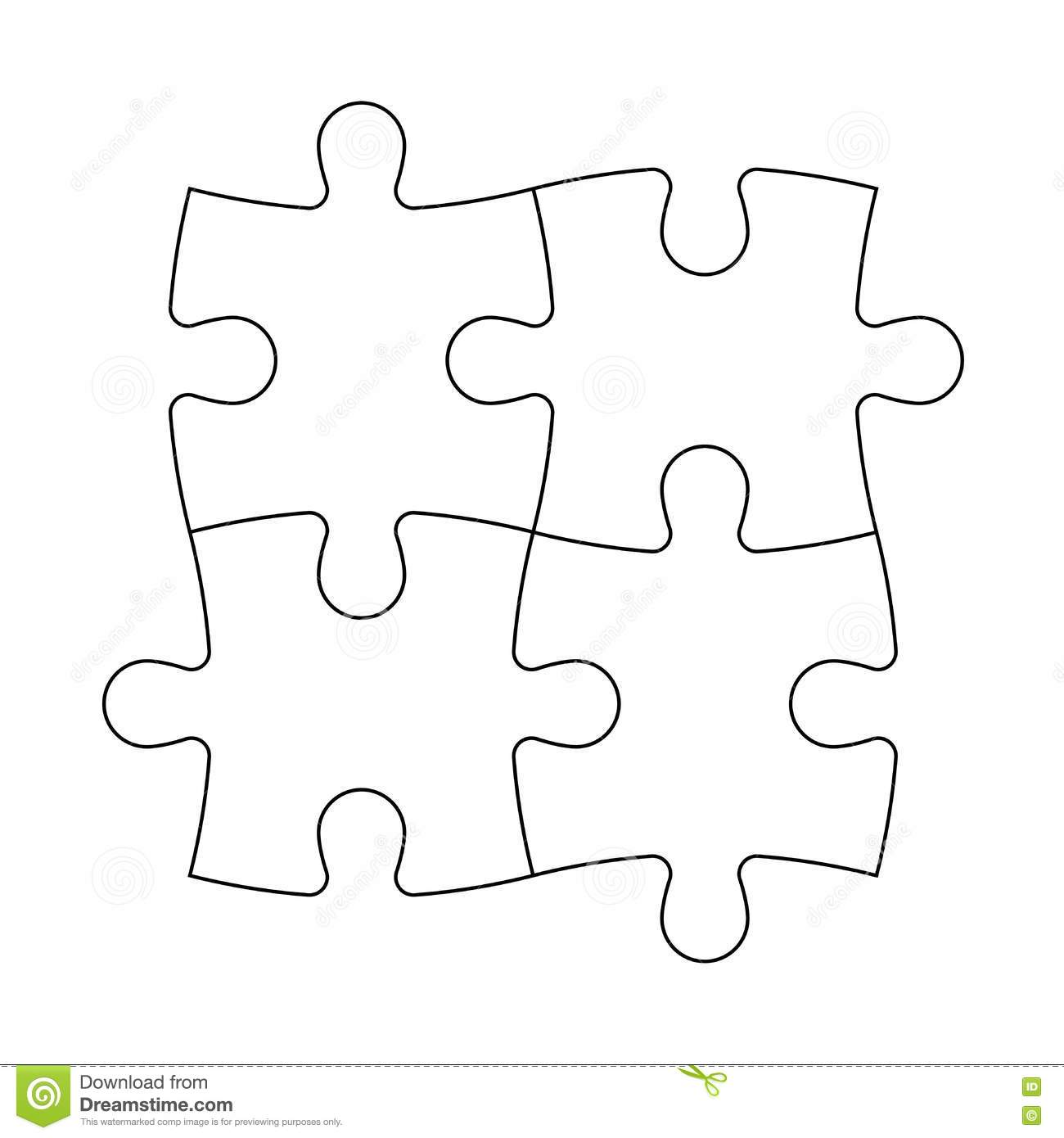Solved Jigsaw Puzzle Of Four Pieces Stock Vector