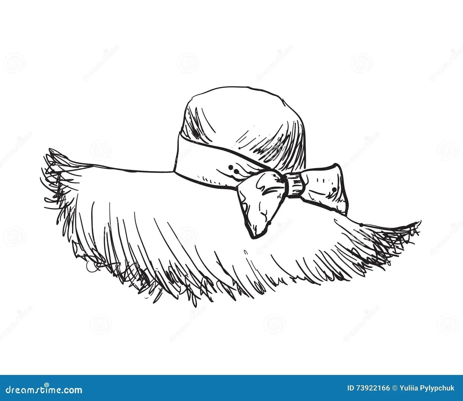 Sombrero De Paja Dibujado Mano Forme La Ilustracion