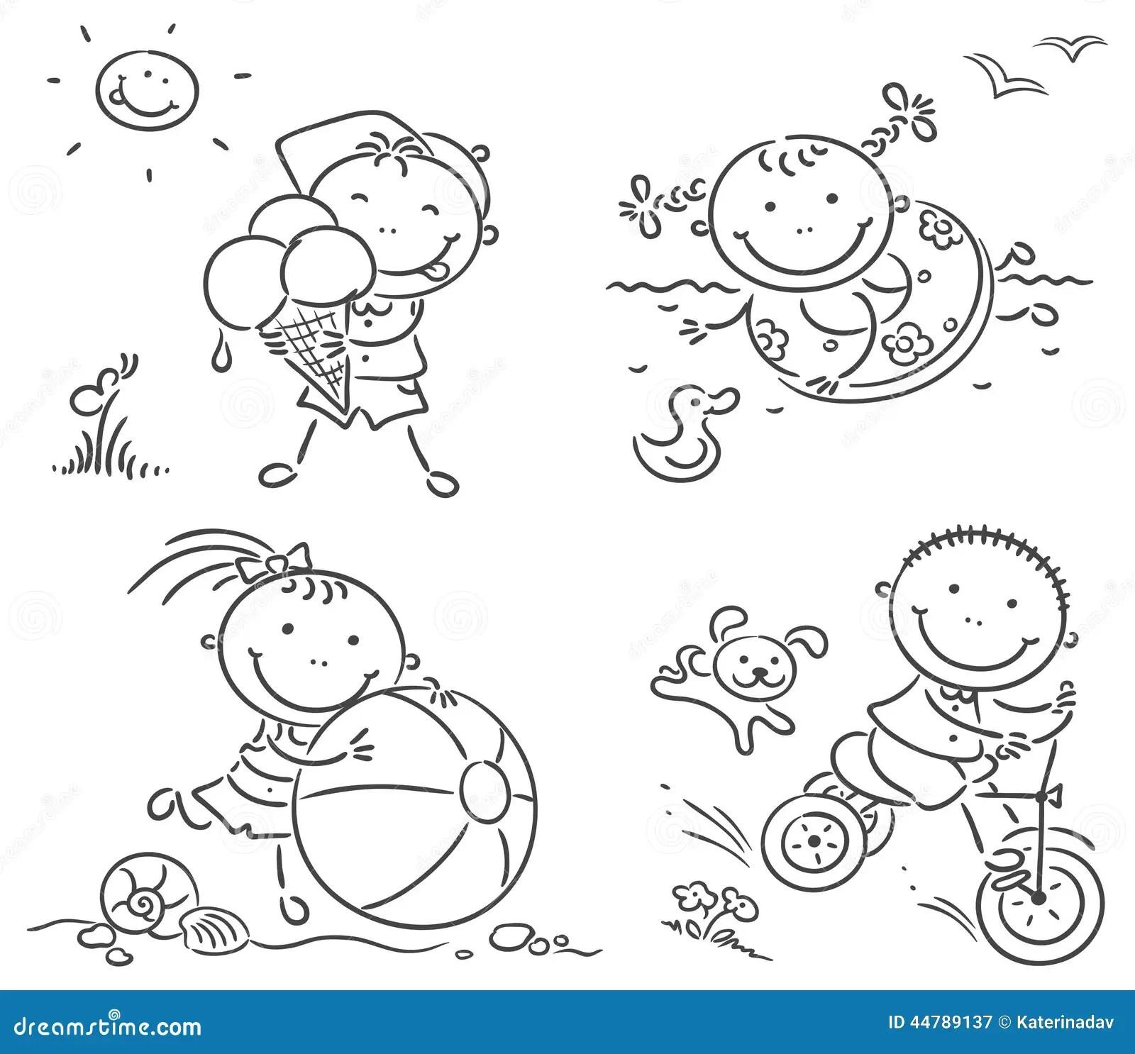 Sommar Lurar Aktiviteter Utomhus Vektor Illustrationer