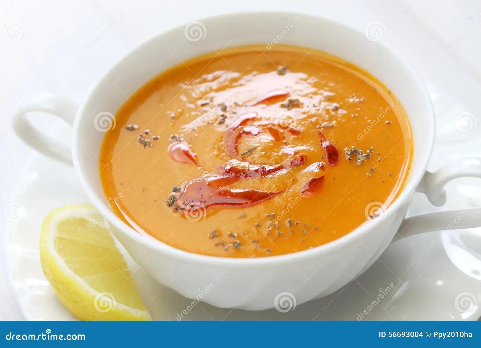 Sopa De Lenteja Roja Cocina Turca Foto de archivo