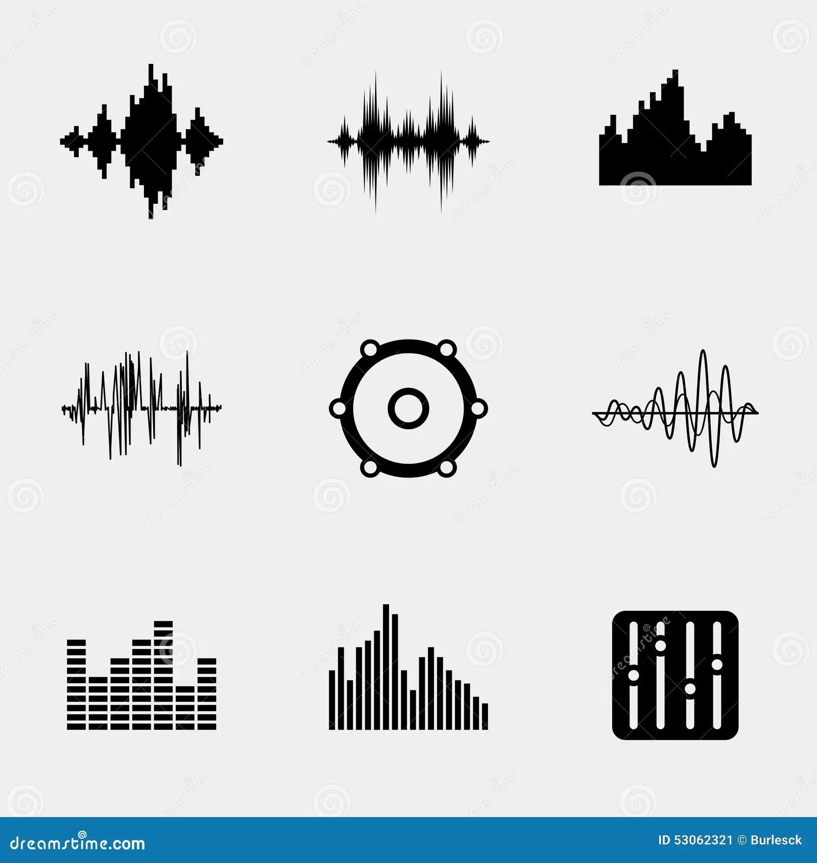 Vector Flat Music Soundwave Icons Set Stock Image