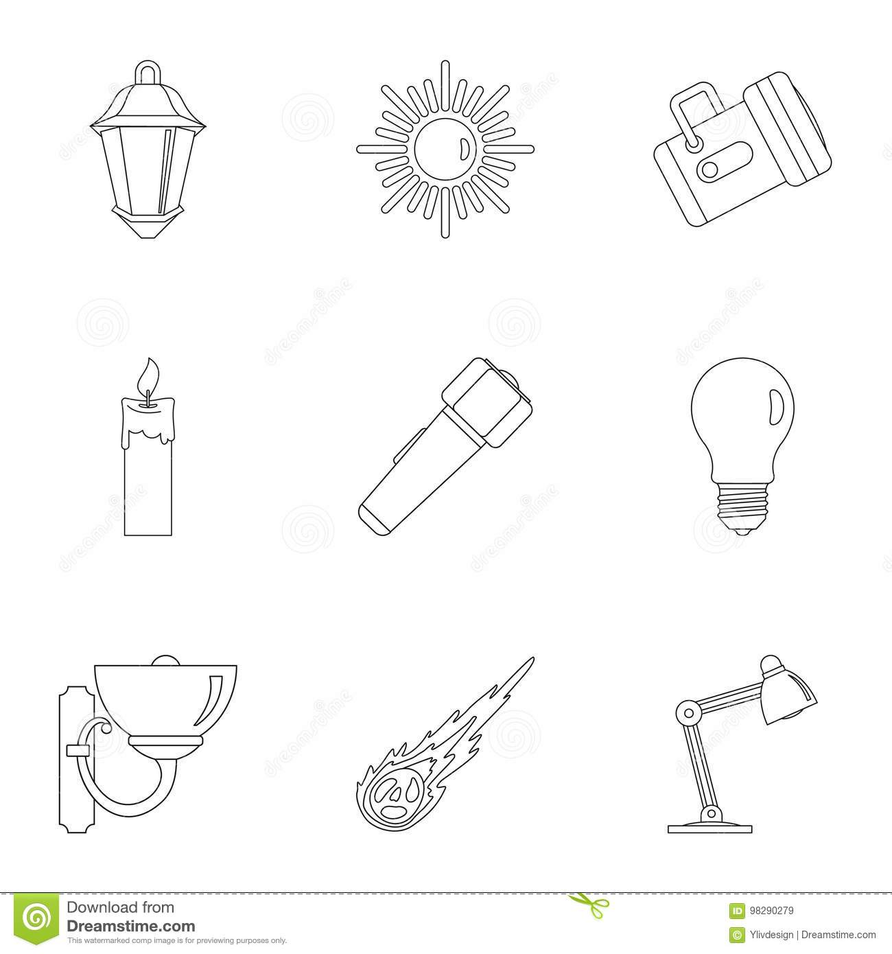 Sources Of Light Icon Set Outline Style Stock Vector