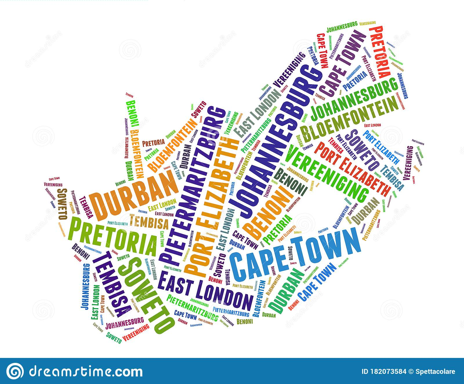 South Africa Map And List Of Cities Word Cloud Concept