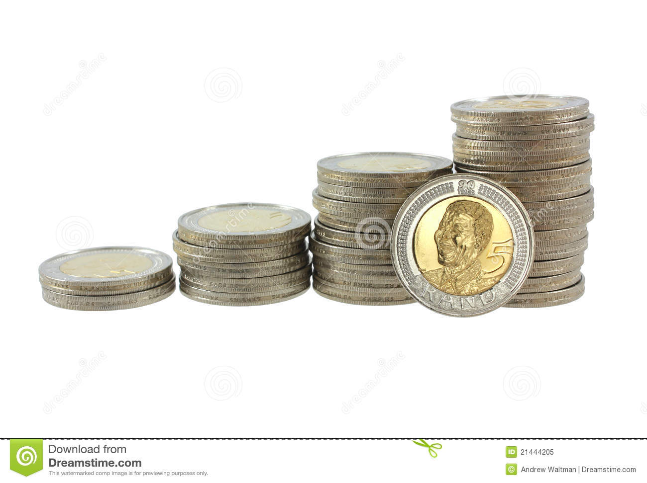 South African Five Rand Coins Stock Image