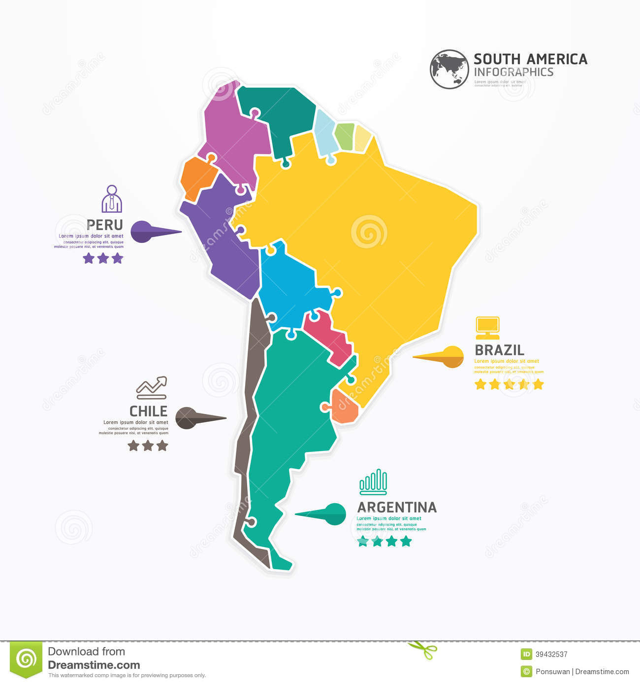 South America Map Infographic Template Jigsaw Concept
