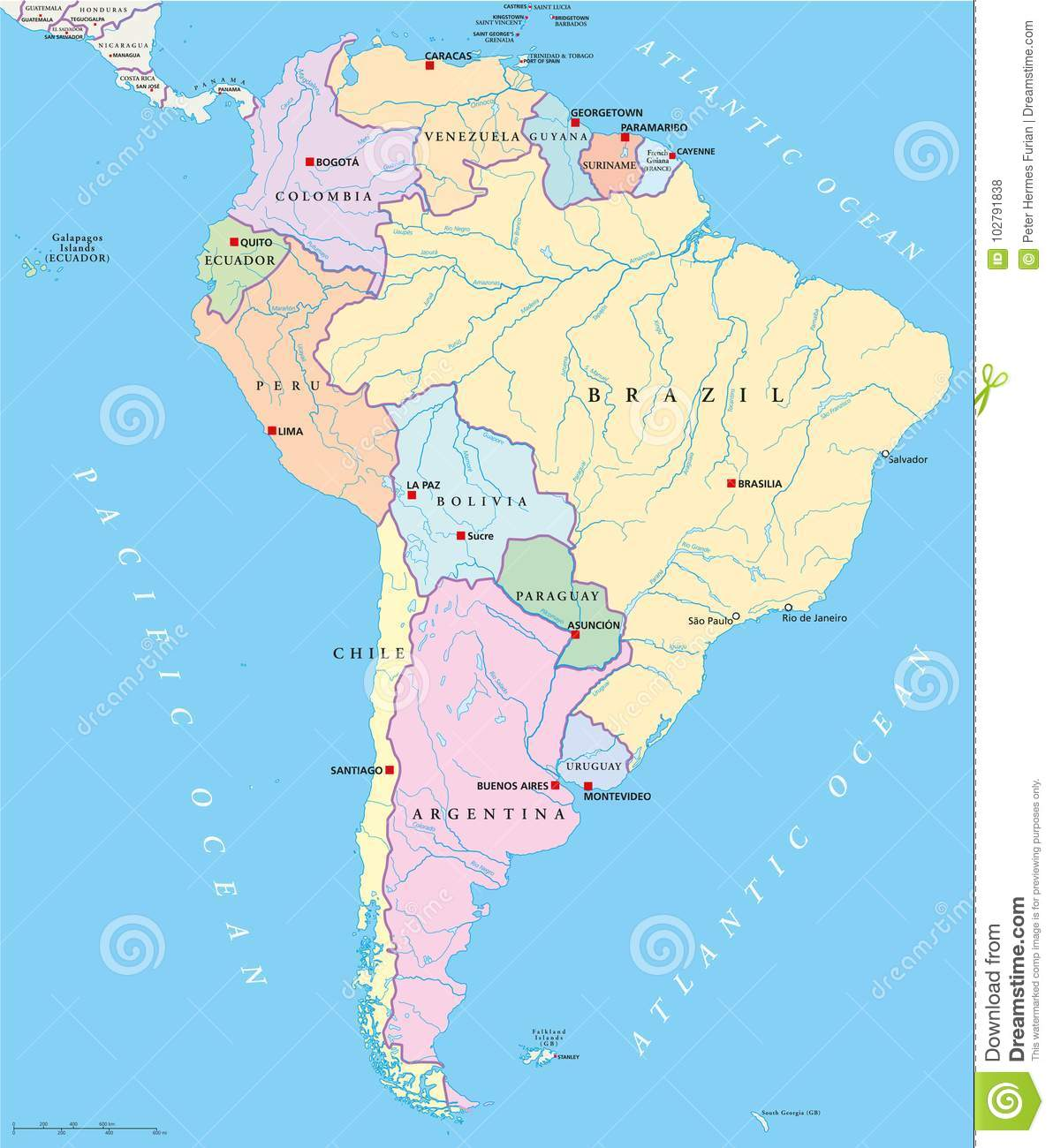 South America Single States Map Stock Vector