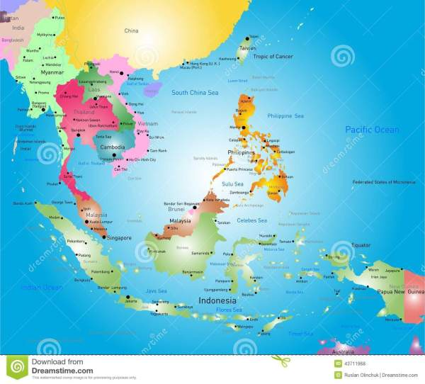 Southeast asia map stock vector Illustration of
