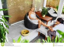 Spa Foot Massage. Body Care Treatment. Woman Relaxing In
