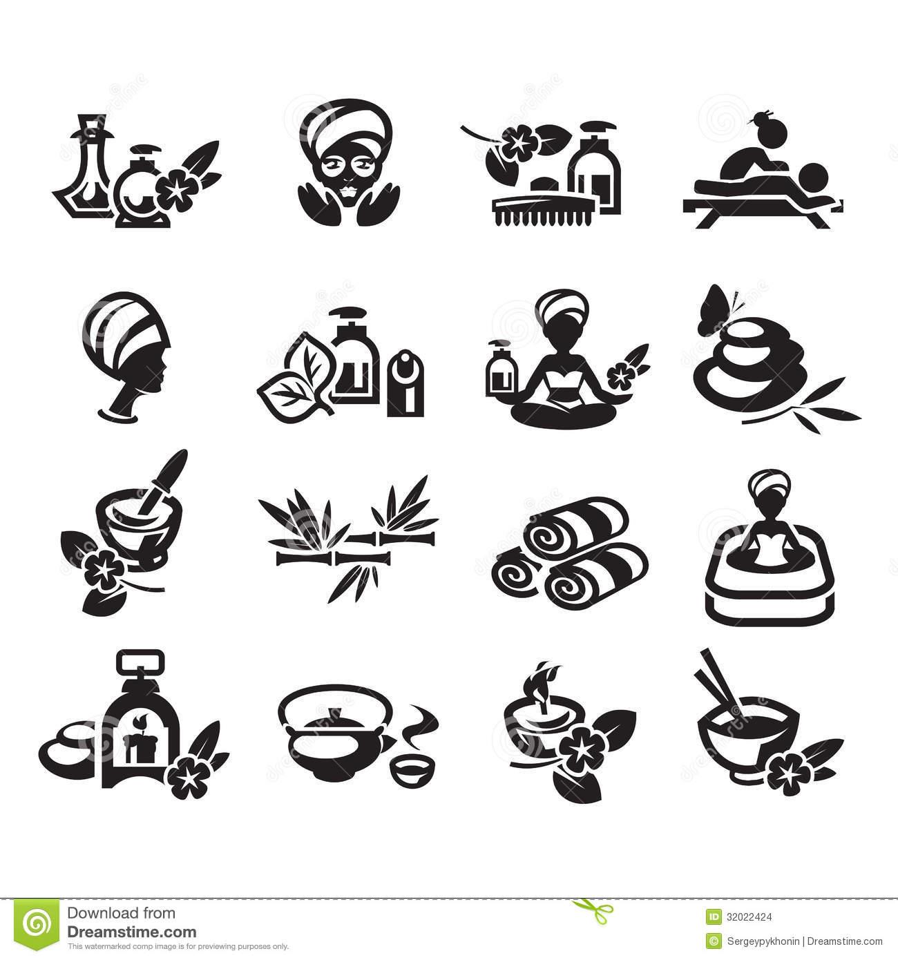 Spa Icons Set Vector Stock Images