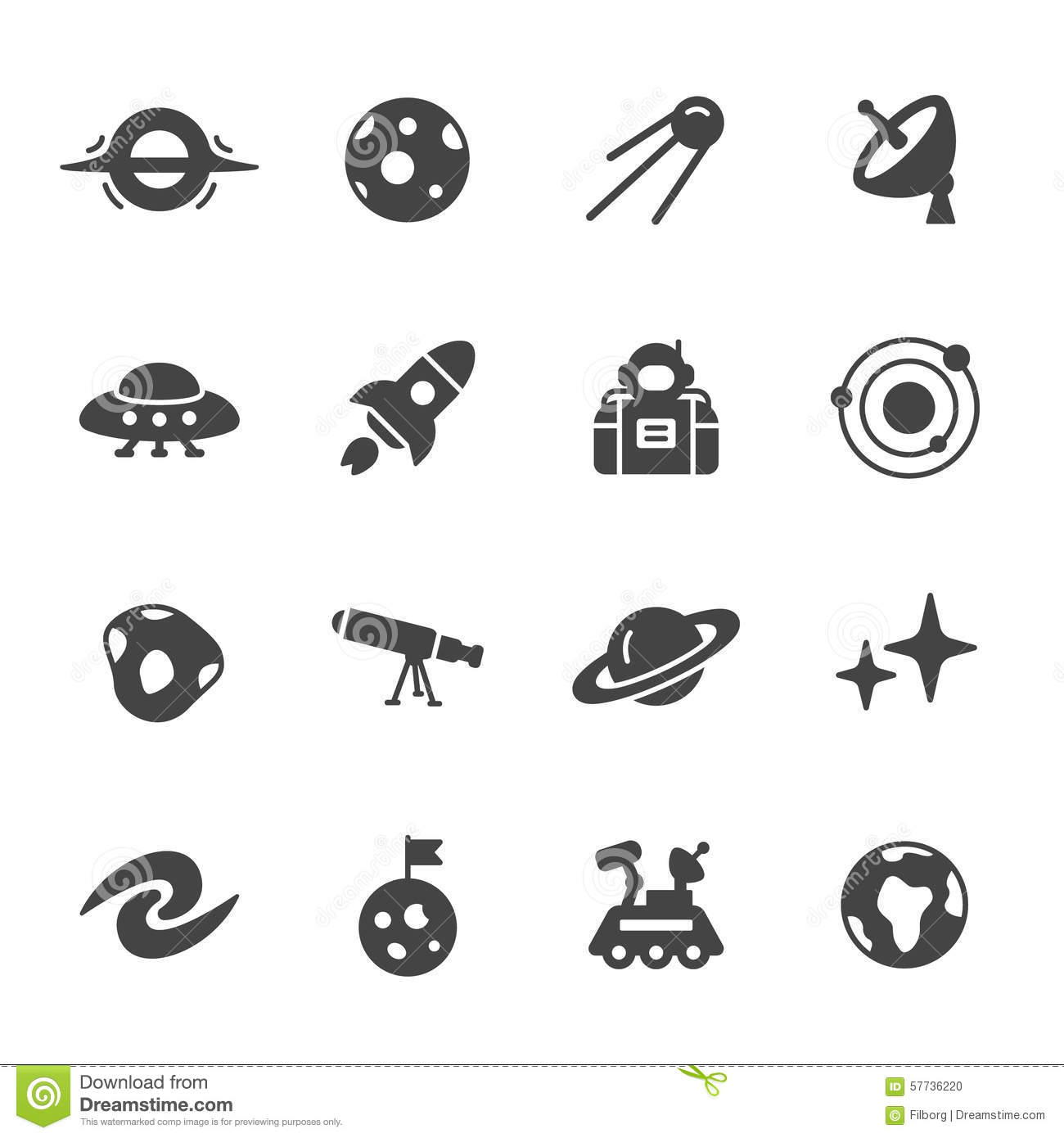 Space And Astronomy Icons Stock Vector