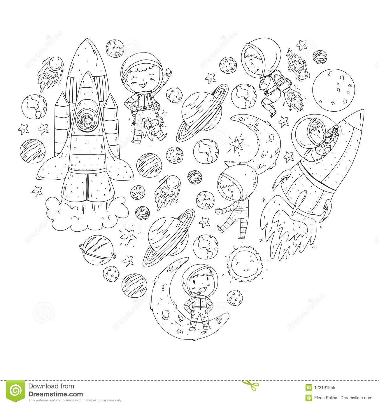 Space For Children. Coloring Page, Book. Kids And Cosmos