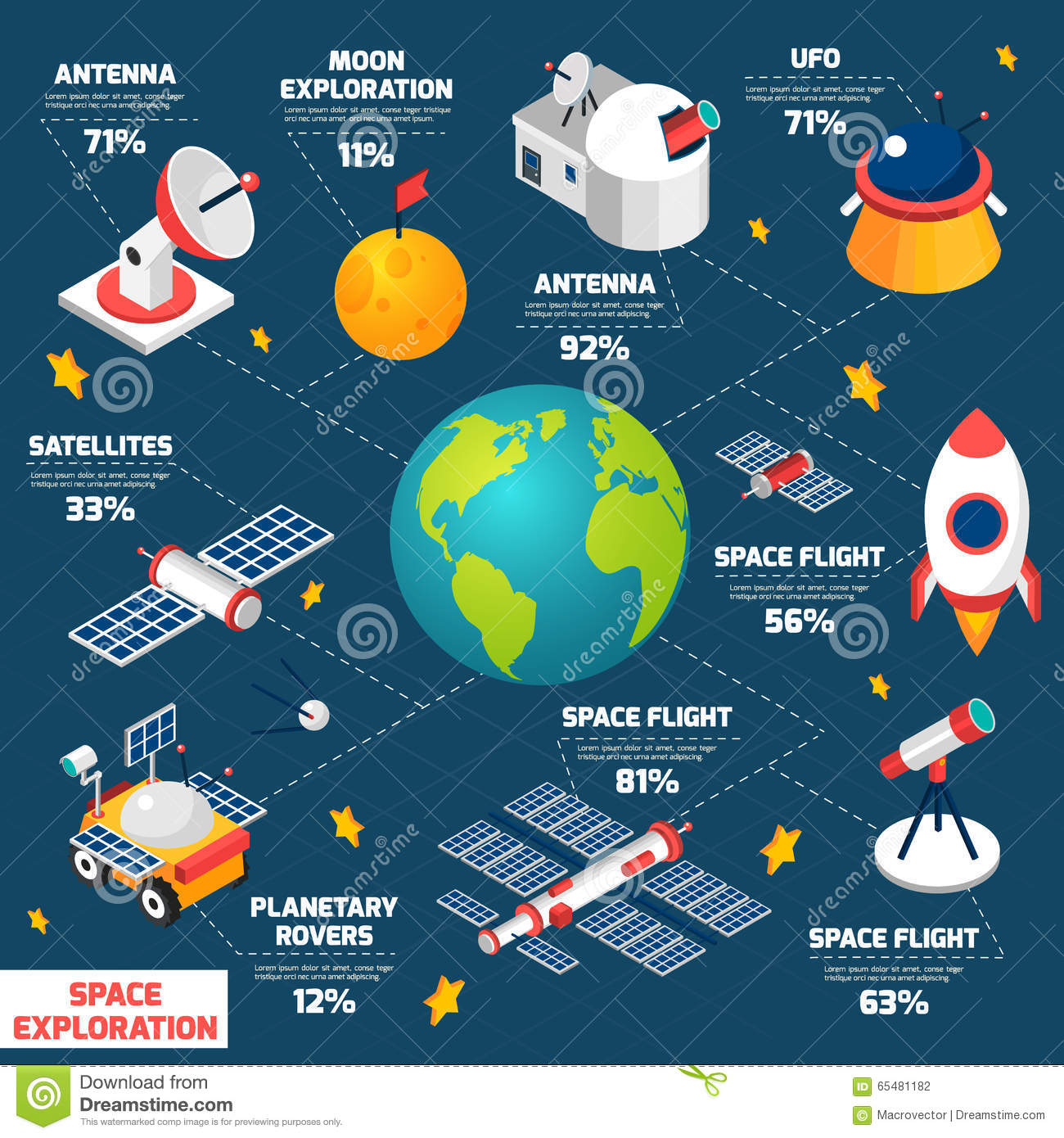 Space Exploration Infografic Stock Vector