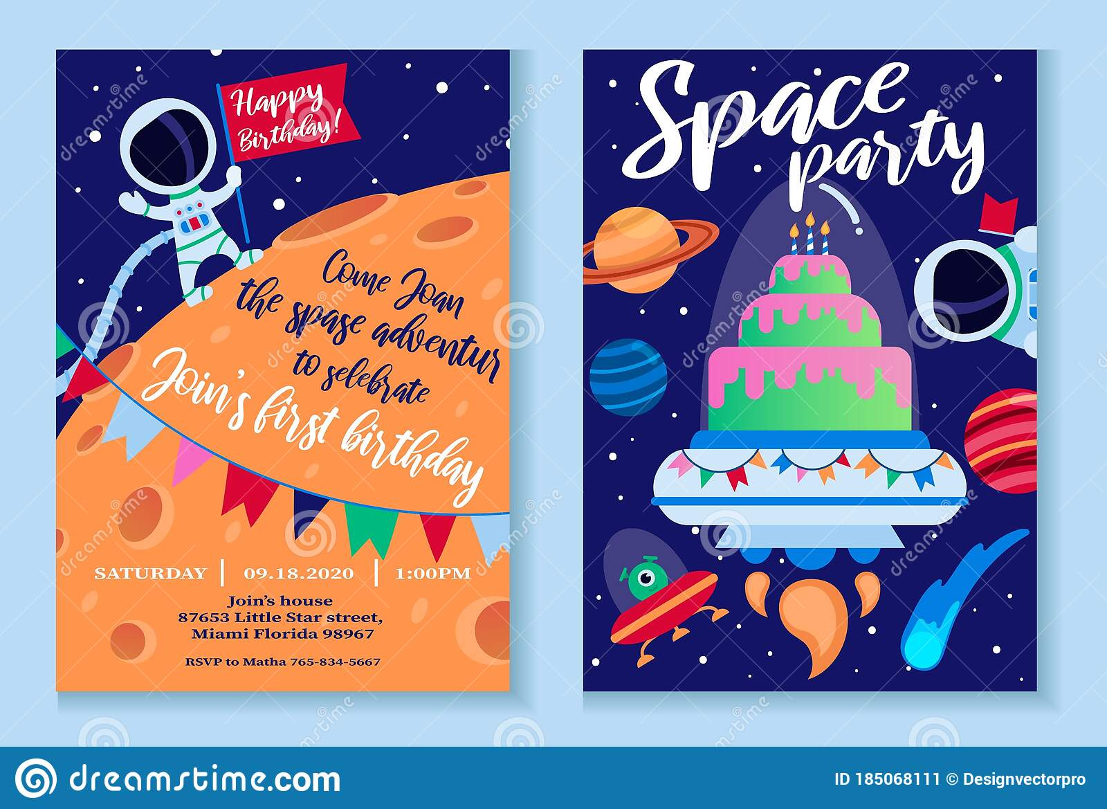 space party invitation template with bright decor stock vector illustration of cosmonaut information 185068111