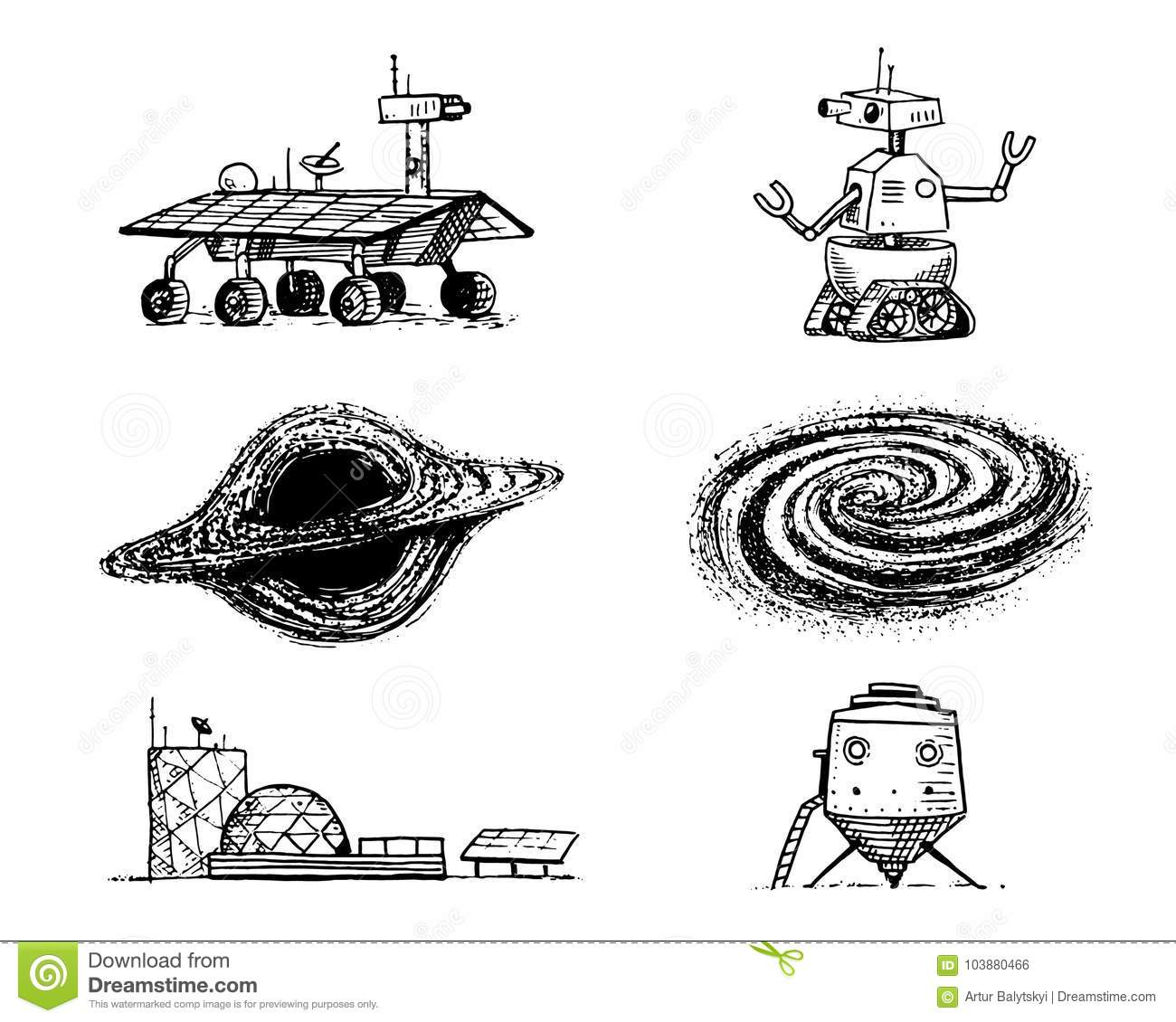 Space Shuttle, Black Hole And Galaxy, Robot And Mars