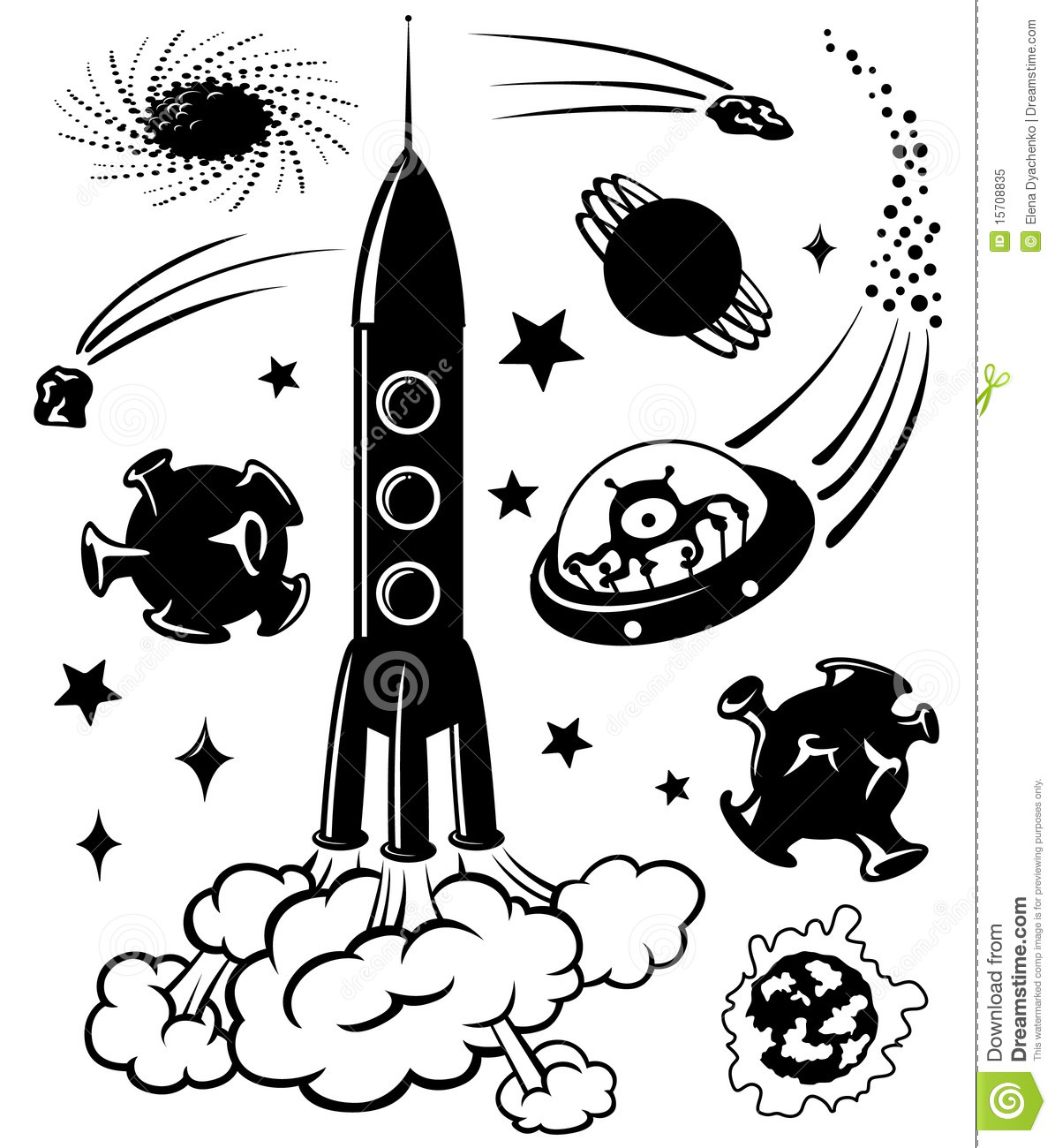 Space Silhouettes Stock Vector Illustration Of Galaxy