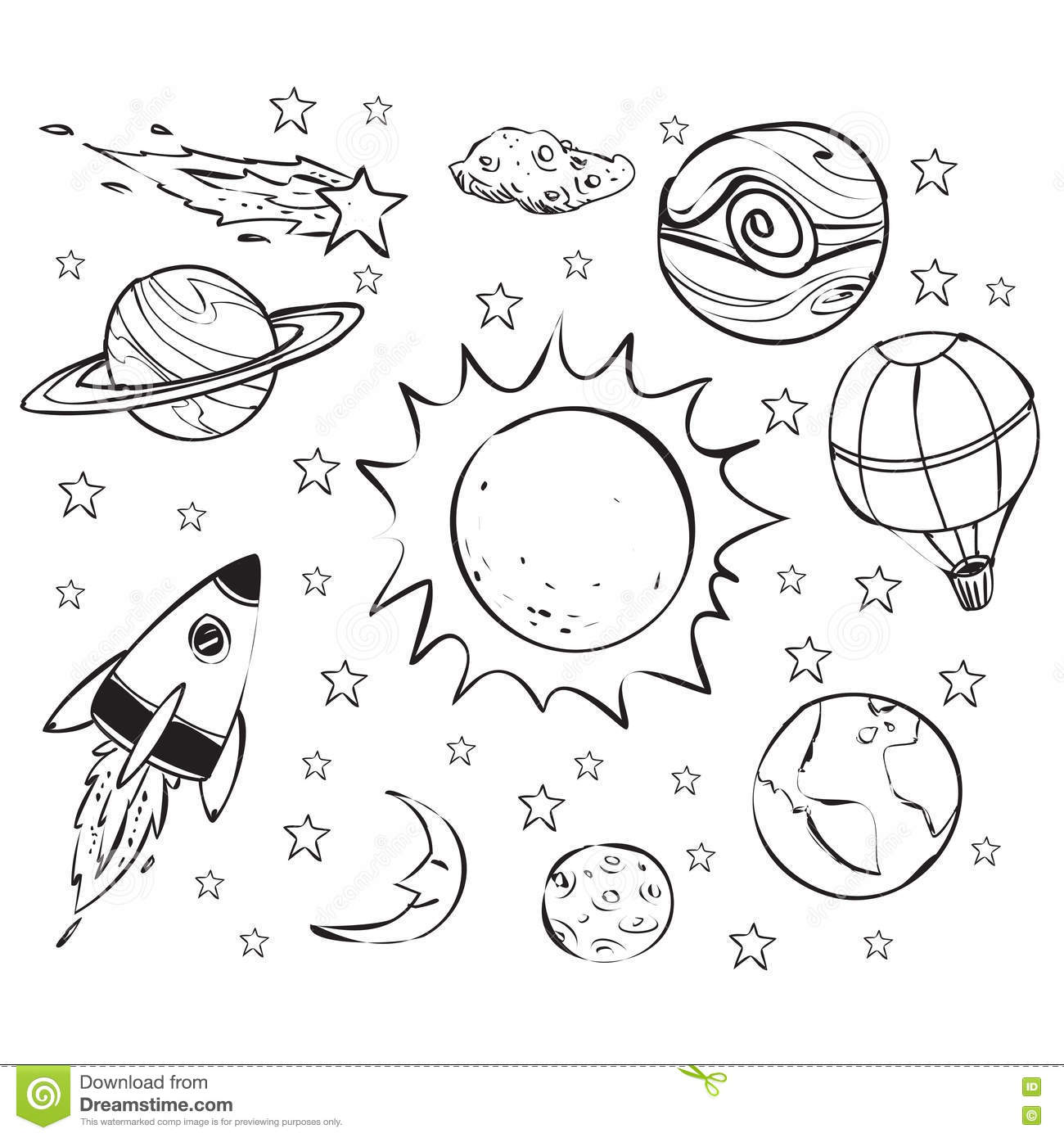 Space Theme Doodle Black On White Stock Vector