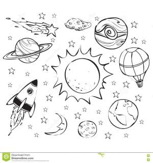 space theme doodle drawing cartoon simple outline hand mars