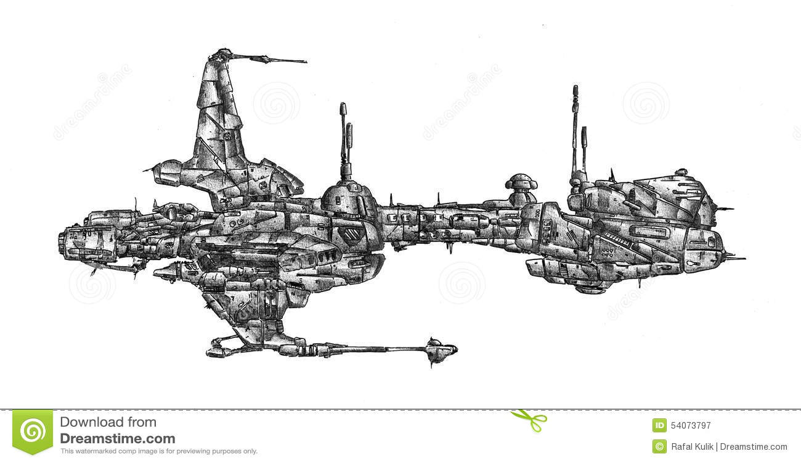 Spaceship Art Drawing Sketch Illustration Stock