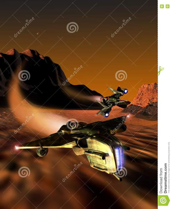 Spaceships Race Planet Mars Stock Illustration