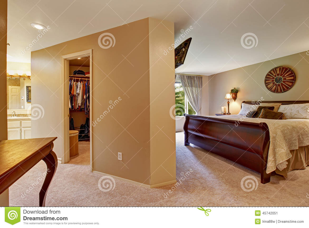 spacious bedroom interior with walk in closet stock image - image of