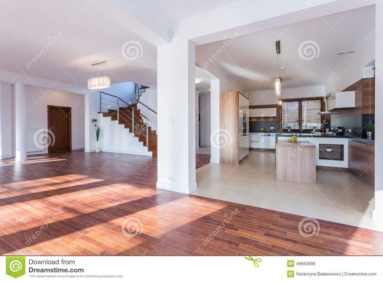 Spacious Hall And Open Kitchen Stock Image  Image of