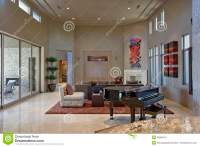Spacious Living Room With Piano In Foreground Stock Photo ...