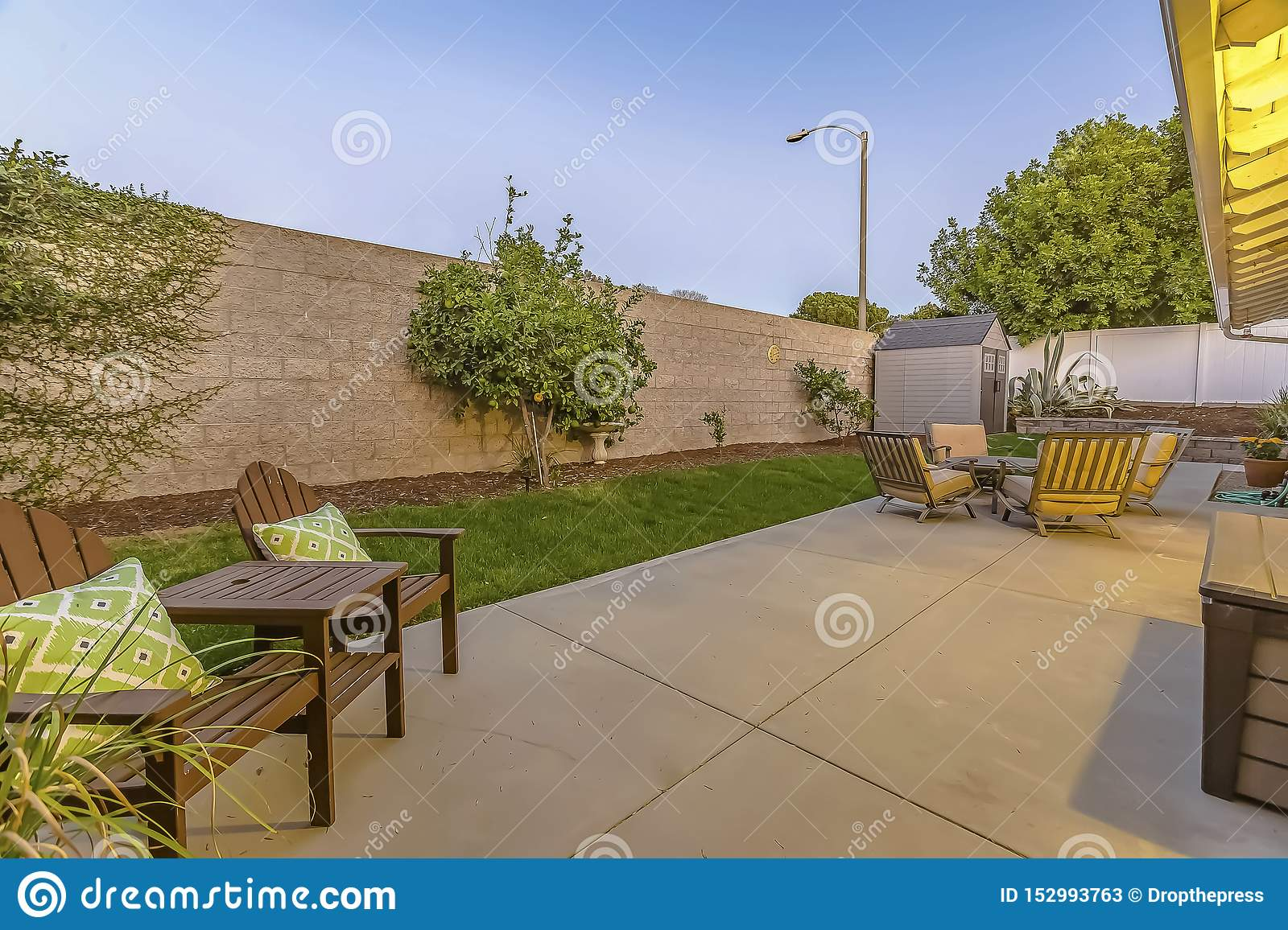 https www dreamstime com spacious patio backyard home seating dining area small shed corner yard enclosed inside concrete wooden image152993763