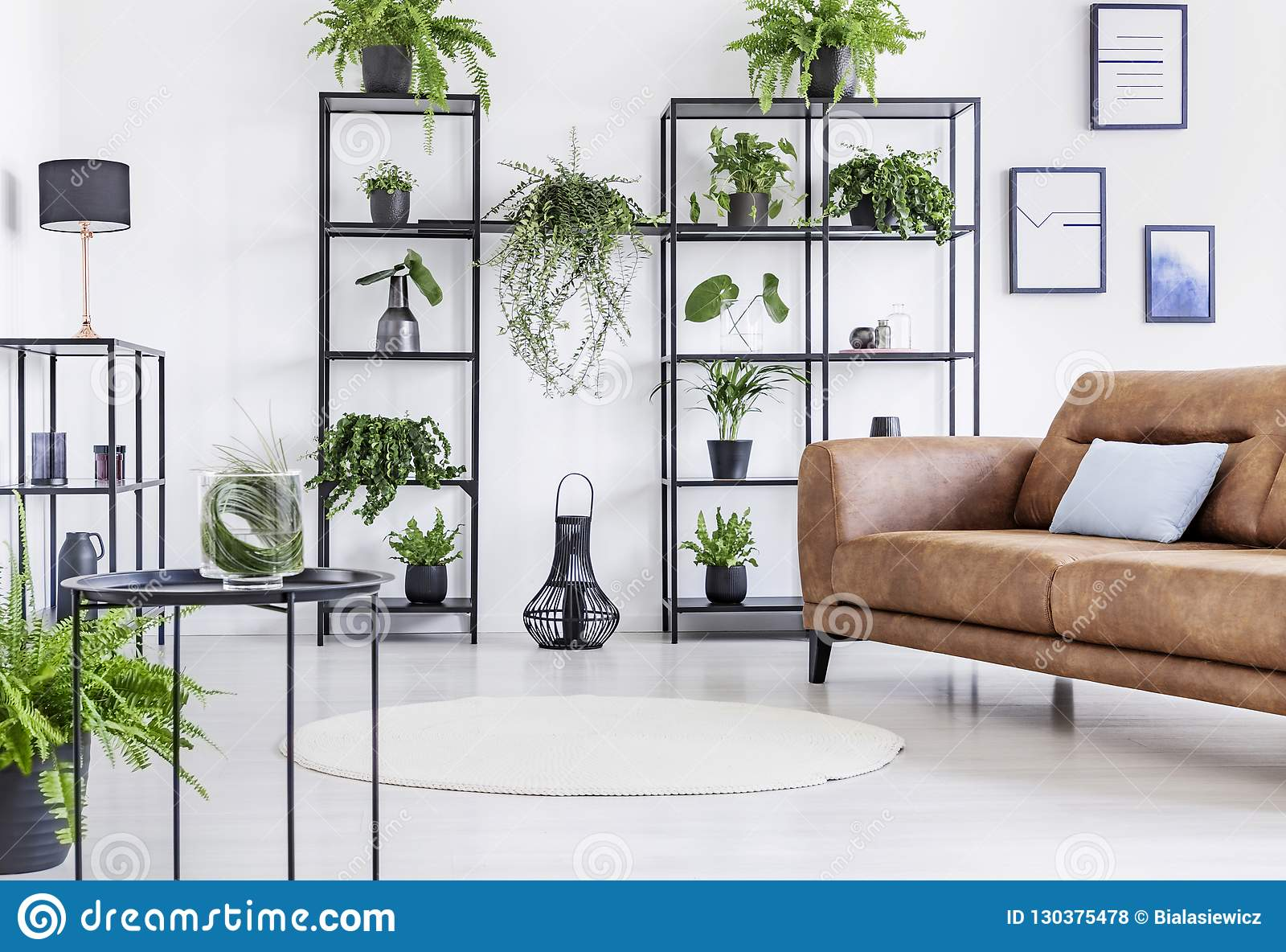 https www dreamstime com spacious white living room urban jungle black metal shelf whit big brown leather couch image130375478
