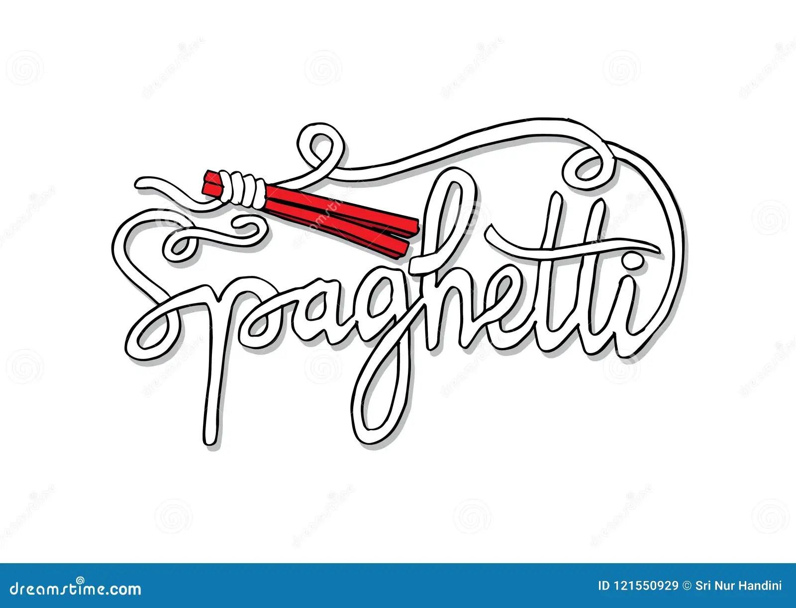 Spaghetti Text With Chopsticks Stock Illustration