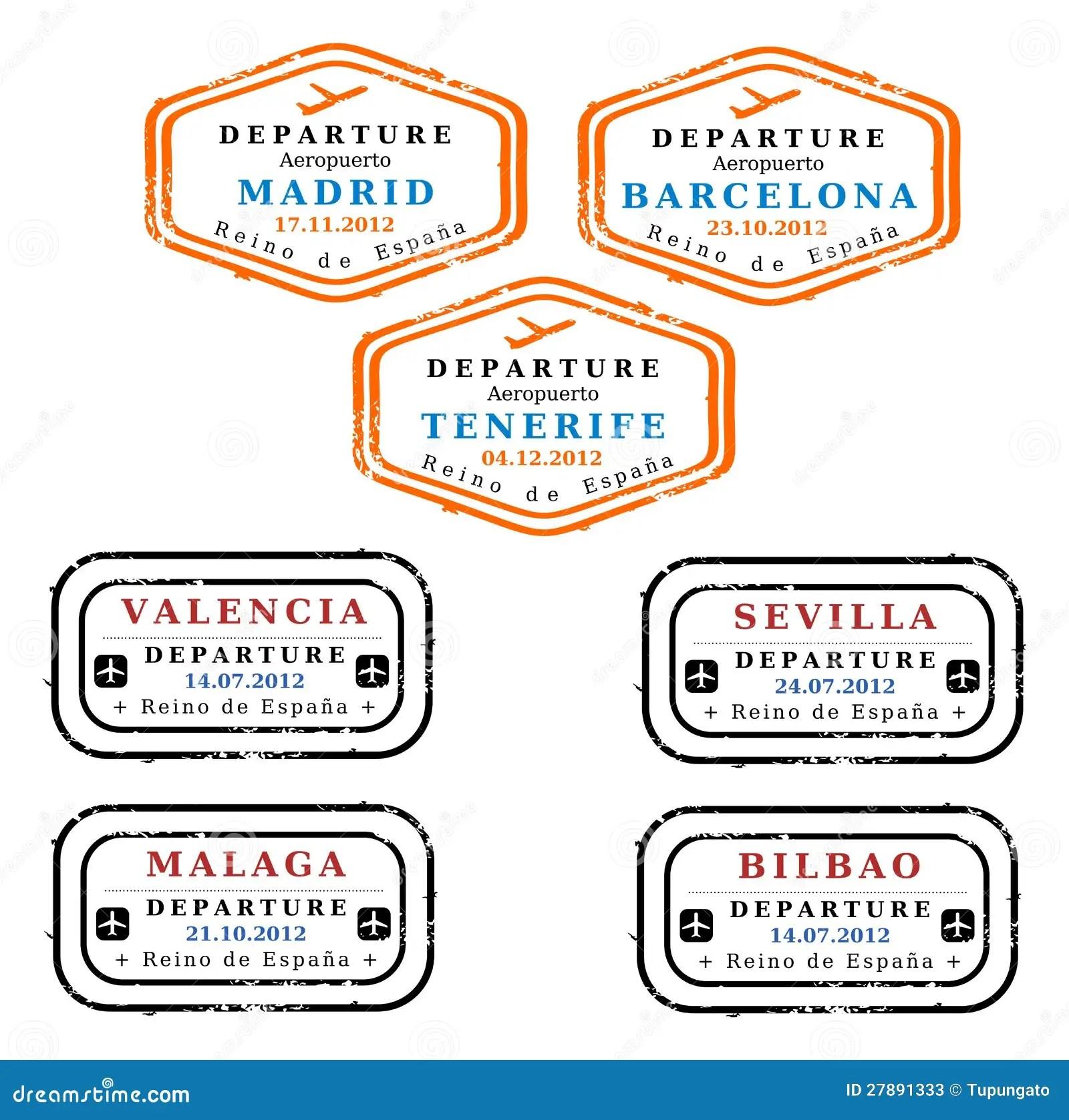 Spain Visa Stamps Stock Photos