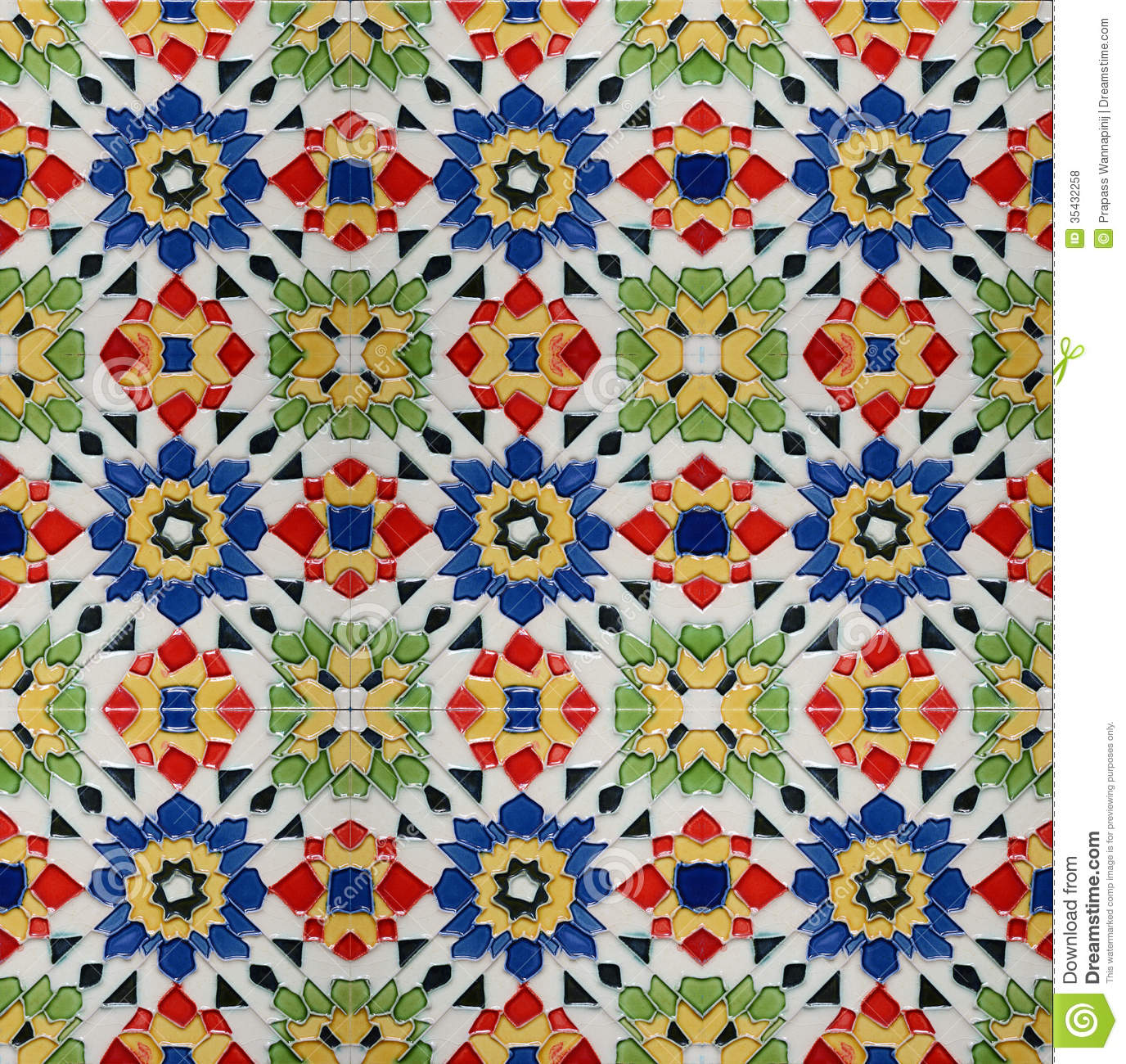 Spanich Moroccan Style Vintage Ceramic Tile Stock Photo