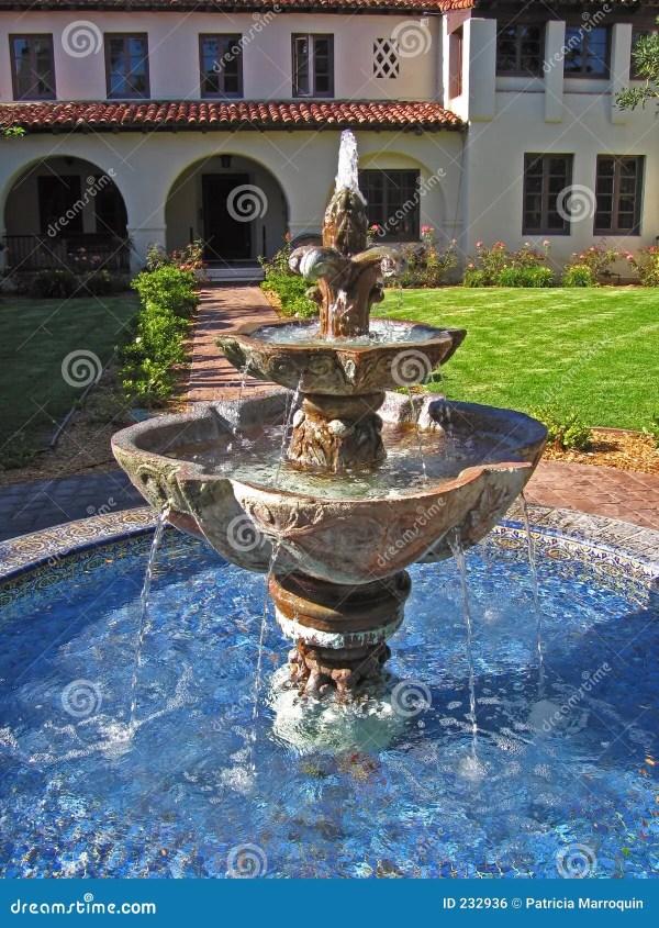 Spanish Courtyard Fountain Stock Of Waterfall