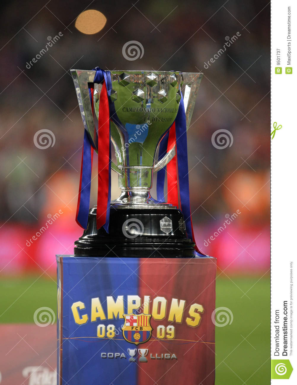 spanish league trophy editorial photography image of barcelona