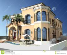 Spanish Style Villa Stock Illustration. Illustration Of