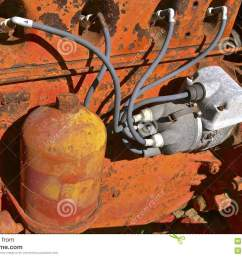 spark plug wiring of an old orange tractor stock photo image of truck tractor trailer plug wiring diagram tractor plug wiring [ 1300 x 957 Pixel ]