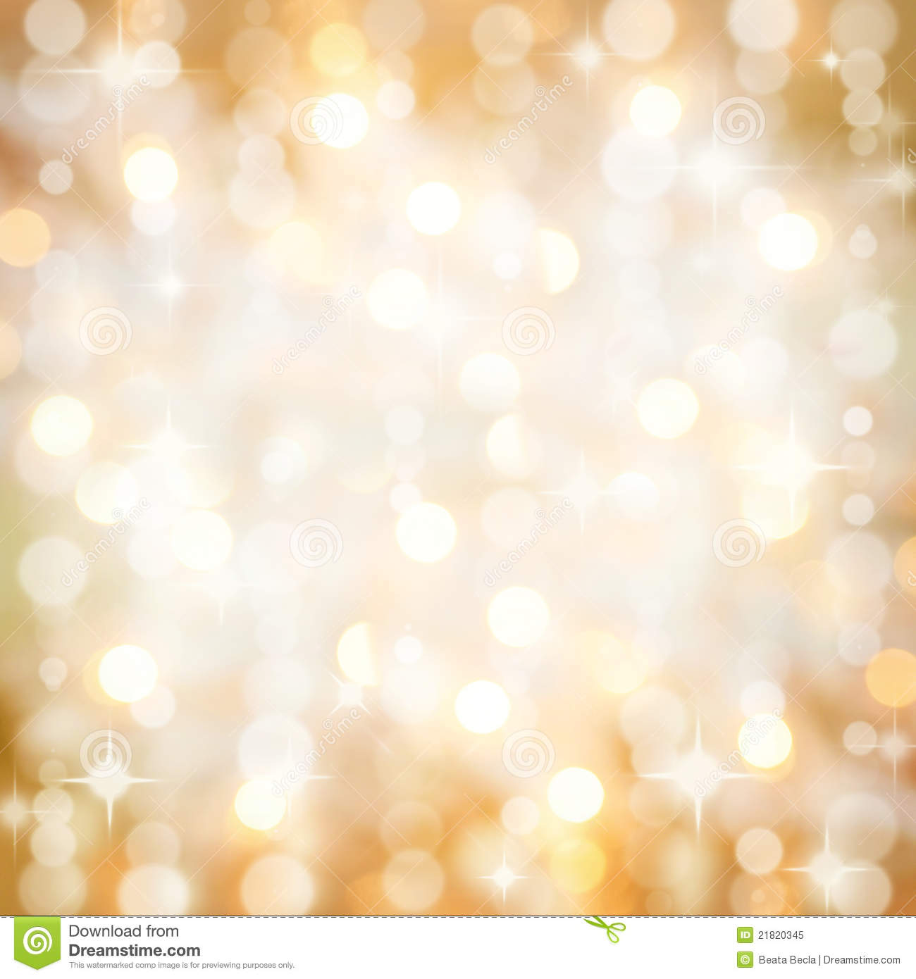 Sparkling Golden Christmas Party Lights Background Stock