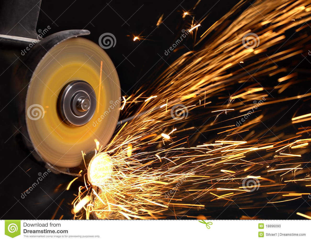 Sparks At Grinding Material Stock Photo  Image 18896090