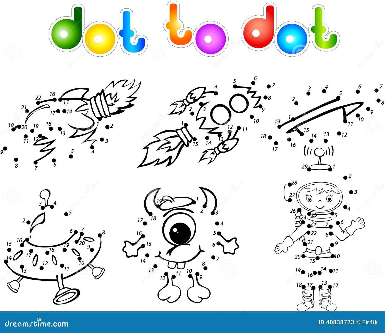 Spase Set 2 Dot To Dot Stock Vector