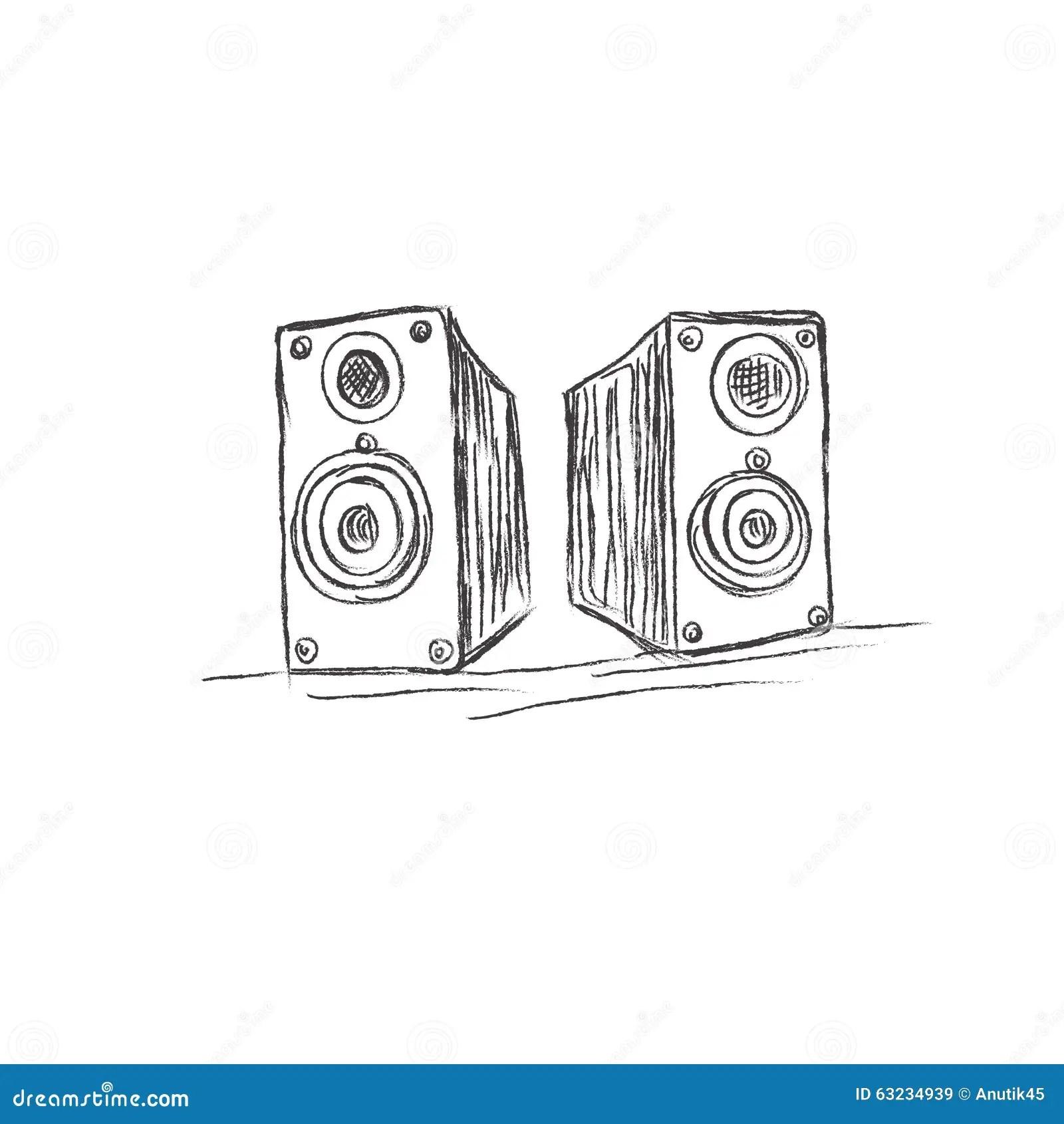 Speakers Sketch Vector Illustration Stock Vector