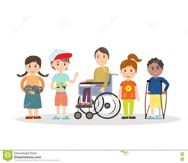 Special Children With Friends Stock Vector