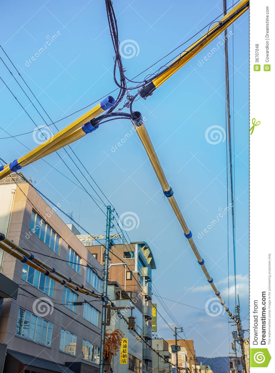hight resolution of special treated cover for electrical and telephone line wiring protecting from weather at sanjo dori street