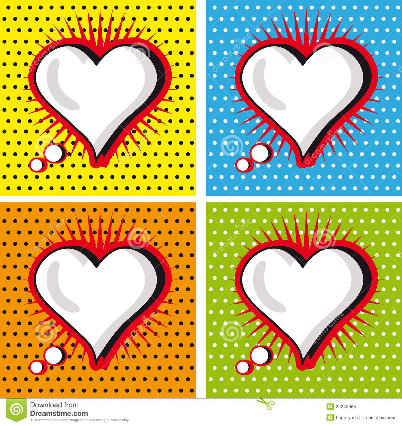 Speech Bubble Love Heart In Pop Art Style Cards Set Stock