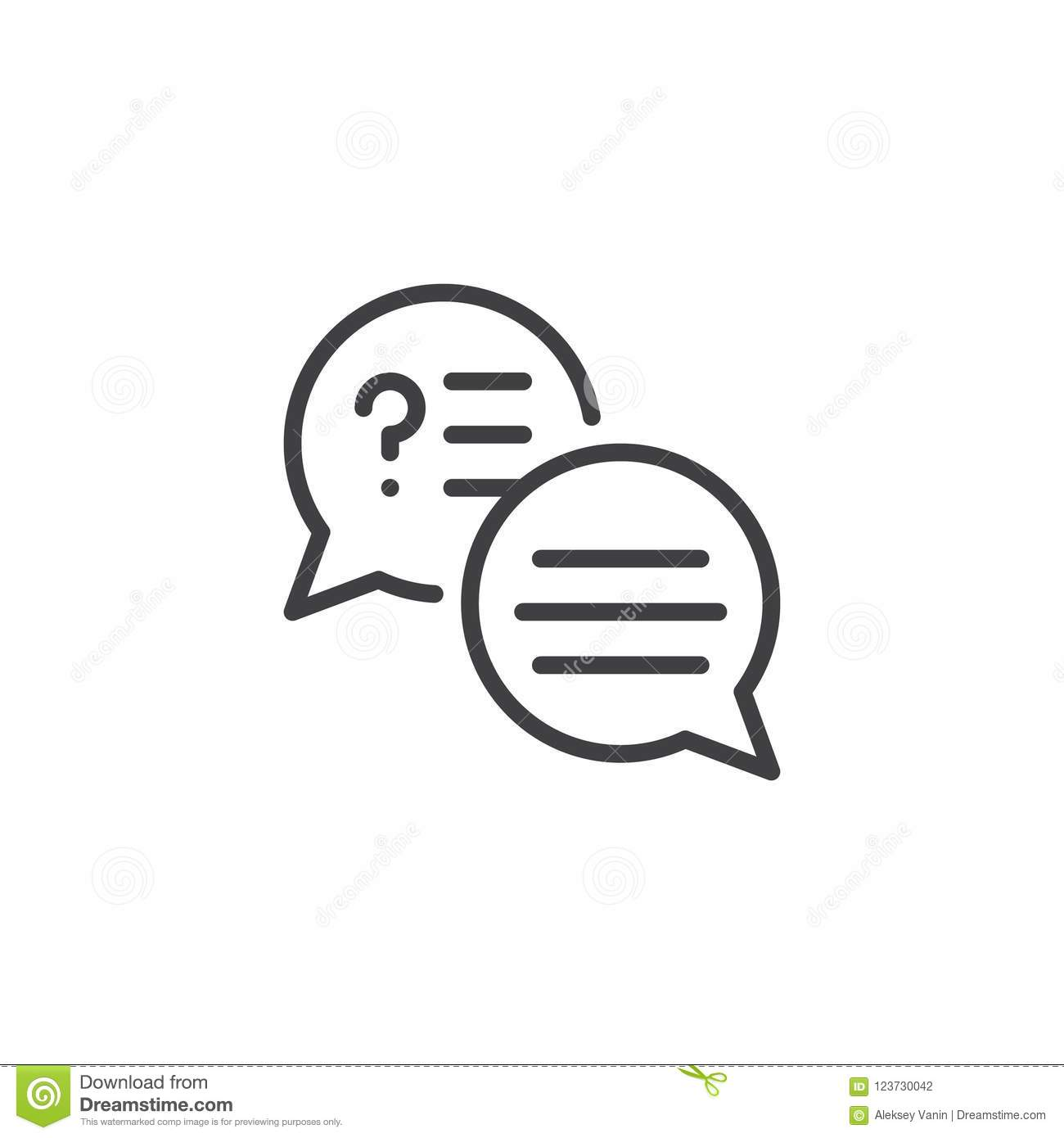 Speech Bubbles With Text Outline Icon Stock Vector