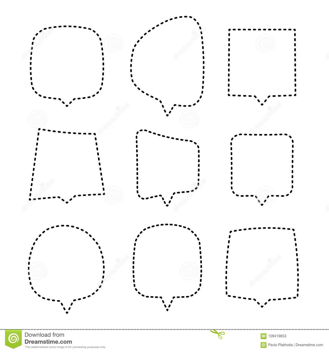 Speech Or Thought Bubbles Of Different Shapes And Sizes