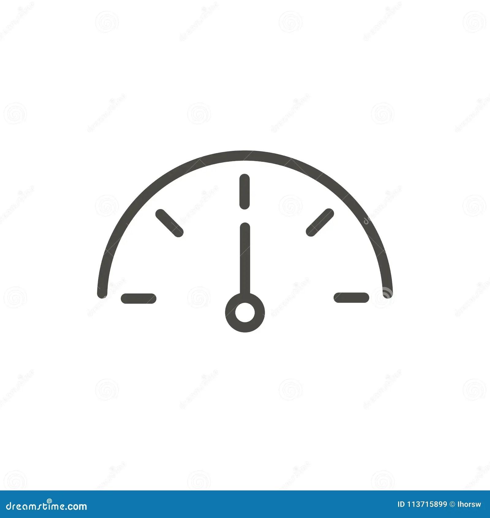Speed Icon Vector Outline Speedometer Line Power Symbol