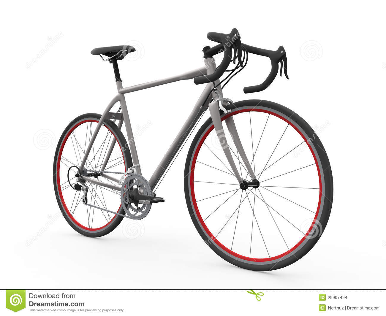 Speed Racing Bicycle Isolated On White Background Stock